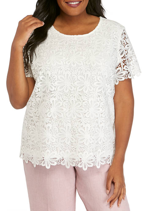 Alfred Dunner Plus Size Short Sleeve Lace Top