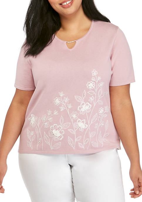 Alfred Dunner Plus Size Beaded Floral Sweater
