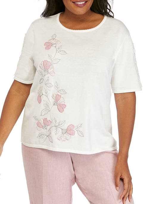 Alfred Dunner Plus Size Asymmetrical Floral Sweater