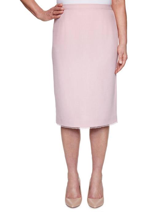 Alfred Dunner Petite Primrose Garden Lace Trim Skirt