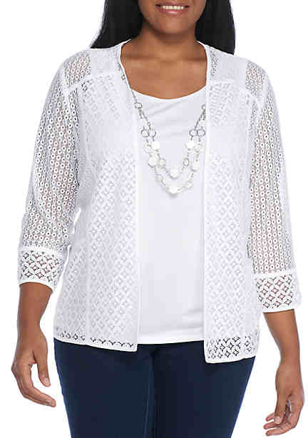 Alfred Dunner Plus Size Lace 2Fer With Necklace ...