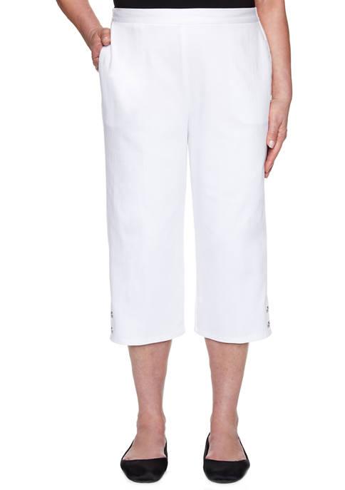 Alfred Dunner Womens Solid Capri Pants