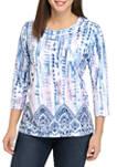 Womens Tie Dye Scroll Border Shirt