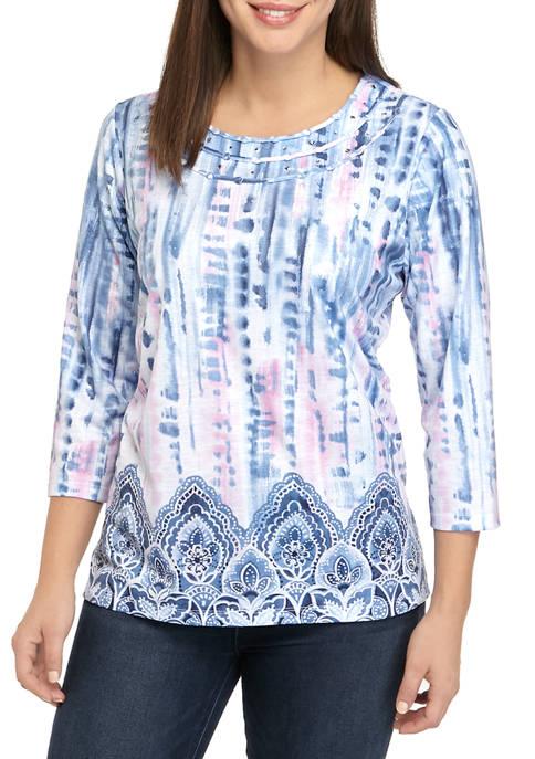 Alfred Dunner Womens Tie Dye Scroll Border Shirt
