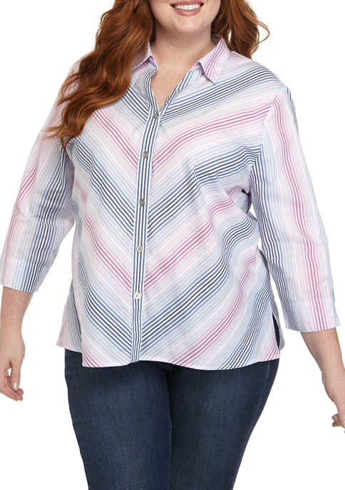 Plus Size 3/4 Sleeve Mitered Top
