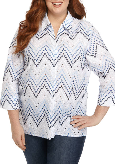 Alfred Dunner Plus Size 3/4 Sleeve Embroidered Top
