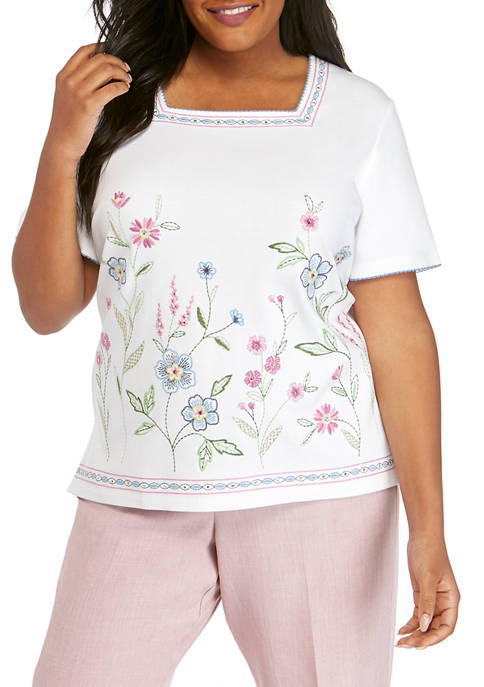 Alfred Dunner Plus Size Embroidered Border Top
