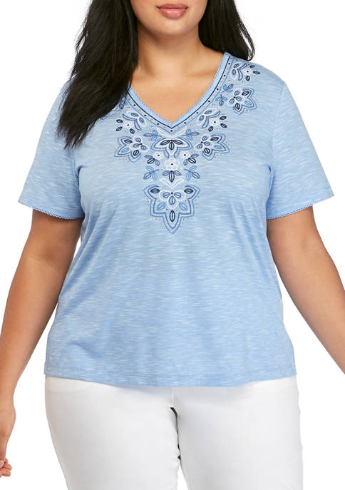 Alfred Dunner Plus Size Embroidered Flora Top