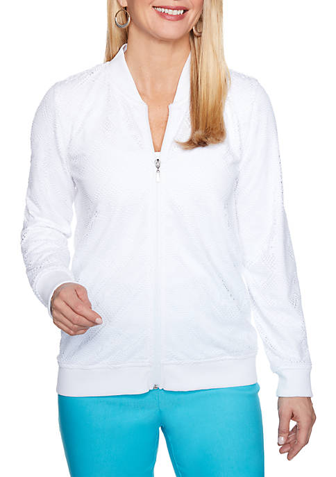Alfred Dunner Turks & Caicos Mesh Knit Jacket