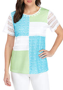 Turks & Caicos Patchwork Lace Knit Top