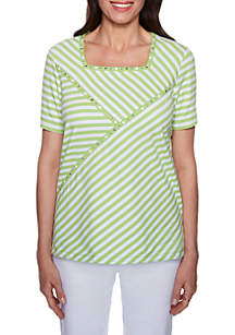 Turks and Caicos Striped Spliced Top