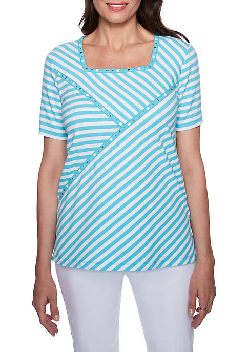 Alfred Dunner Turks and Caicos Striped Spliced Top
