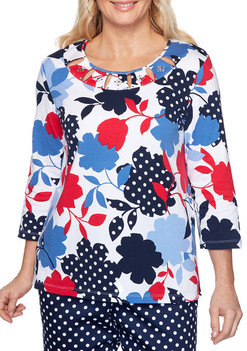 Alfred Dunner Womens Ship Shape 2020 Top