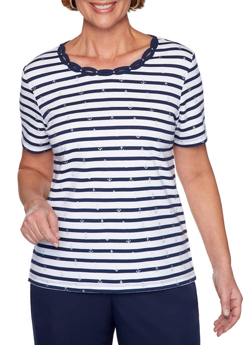 Alfred Dunner Womens Short Sleeve Anchor Stripe Knit