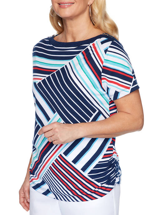 Alfred Dunner Womens Stripe Patch Knit Ship Shape