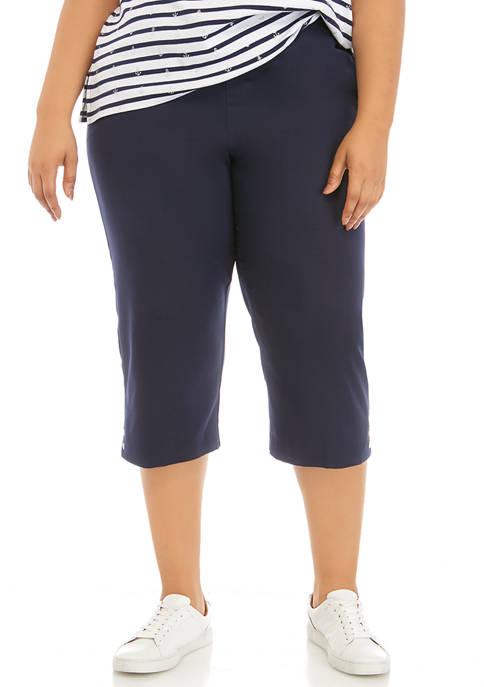 Alfred Dunner Plus Size Grommet Capri Pants