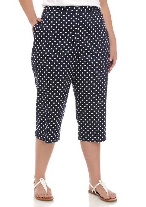 Plus Size Polka Dot Capri Pants