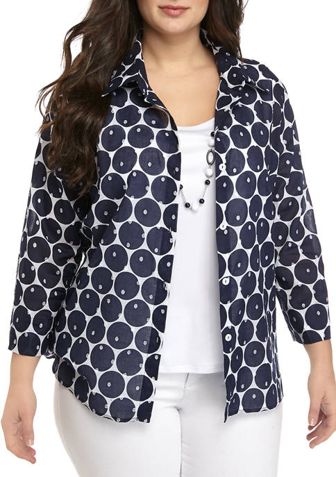 Alfred Dunner Plus Size 3/4 Sleeve Dot 2Fer