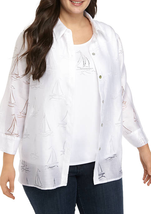 Alfred Dunner Plus Size 3/4 Sleeve Sailboat 2Fer