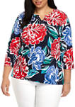 Plus Size Ship Shape 2020 Abstract Floral Top