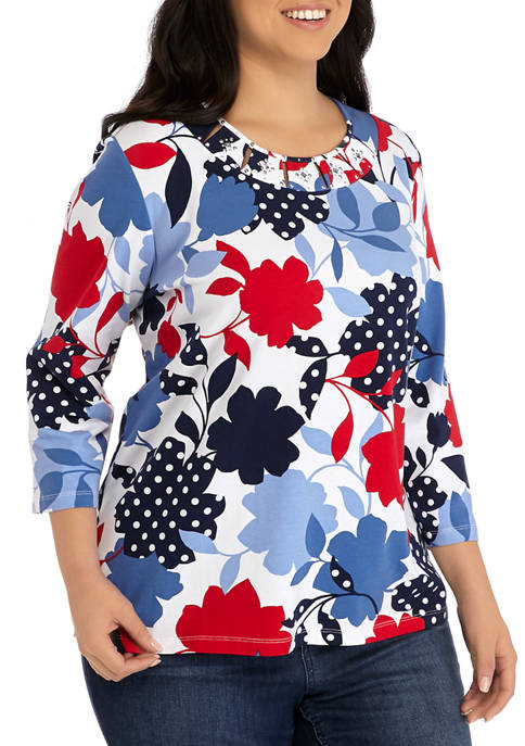 Plus Size 3/4 Sleeve Dot Floral Top