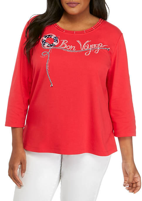 Alfred Dunner Plus Size Bon Voyage Top