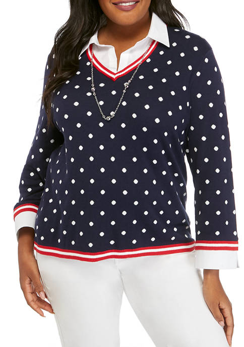Alfred Dunner Plus Size Polka Dot 2Fer Top