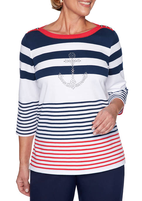 Alfred Dunner Petite Ship Shape Top