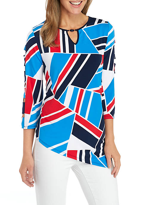 Alfred Dunner Geo Patchwork Knit Top