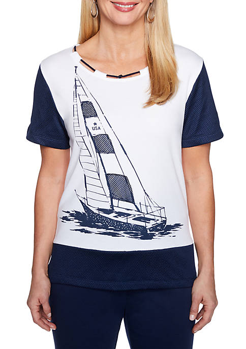 Alfred Dunner Americas Cup Sailboat Mesh Knit Top