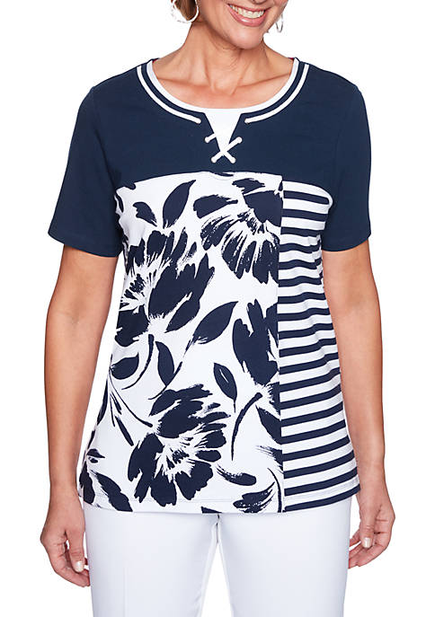 Alfred Dunner Americas Cup Floral Stripe Top
