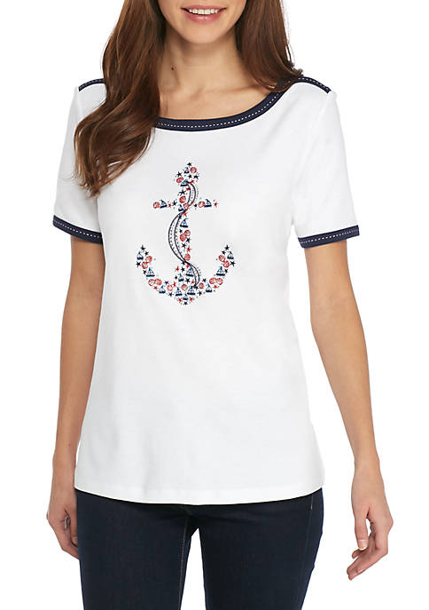 Alfred Dunner Petite Americas Cup Embroidered Anchor Knit