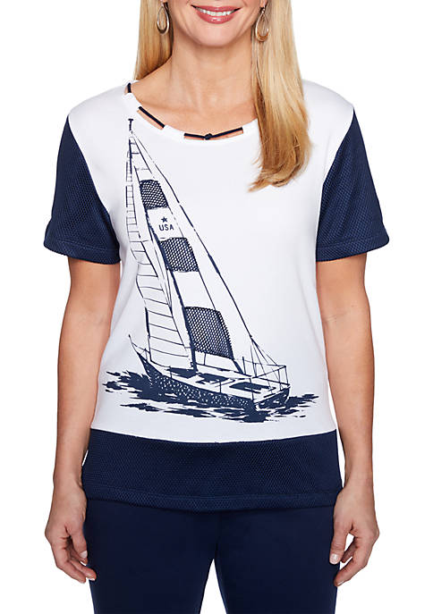 Petite Size Americas Cup Sailboat Mesh Knit Top