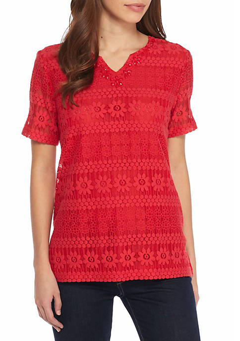 Alfred Dunner Petite Americas Cup Solid Lace Knit