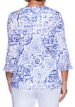 Womens  Costa Rica Abstract Knit Top