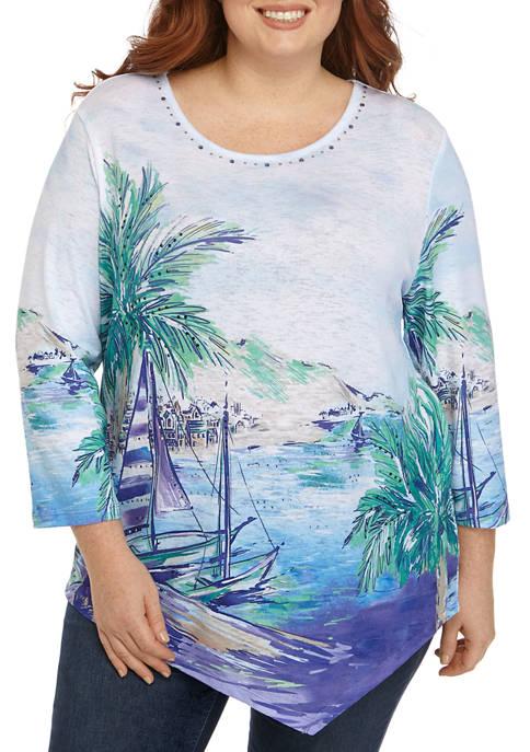 Plus Size 3/4 Sailboat Shirt