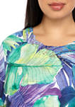 Plus Size Costa Rica 2020 Short Sleeve Tropical Leaves Top