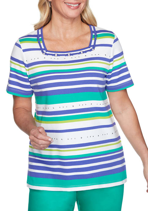 Alfred Dunner Petite Costa Rica Stripe Knit Top