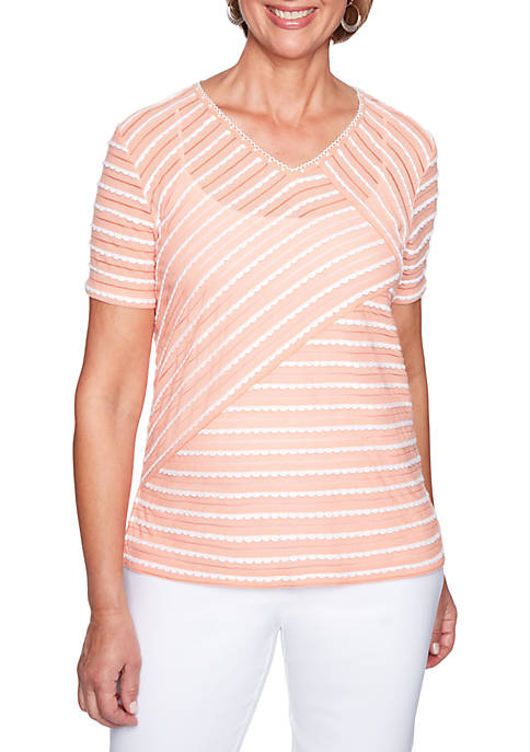 Alfred Dunner Petite Los Cabos Stripe Knit Top