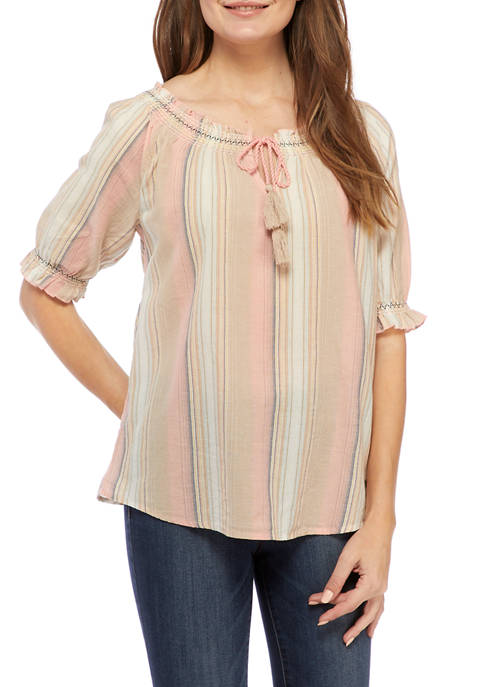 Womens Embroidered Puff Sleeve Peasant Top