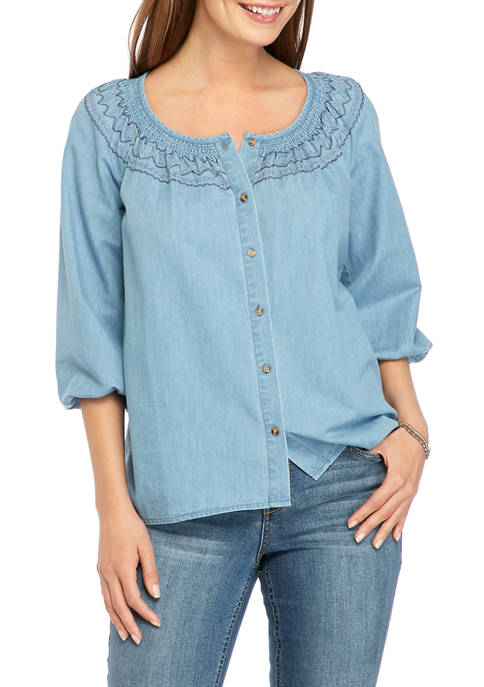 New Directions® Womens Embroidered Smocked Peasant Top