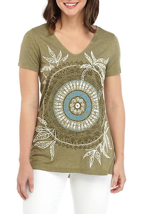 Short Sleeve V Neck High Low T Shirt