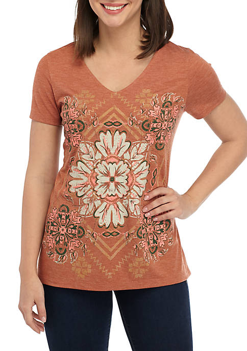 New Directions® Short Sleeve V Neck High Low