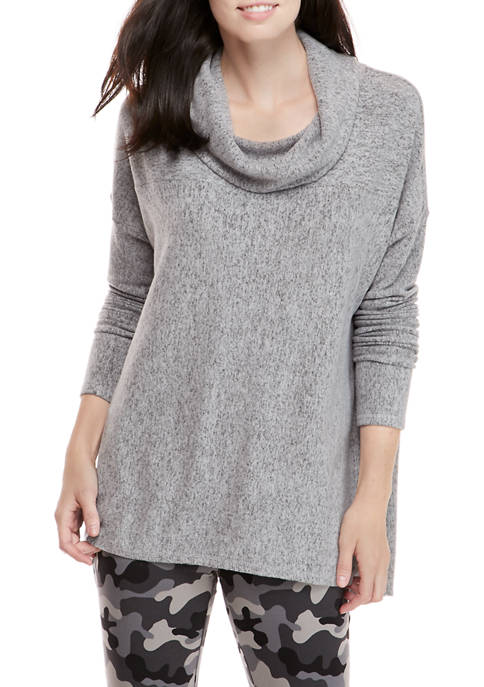 New Directions® Womens Cowl Neck Rib Knit Tunic