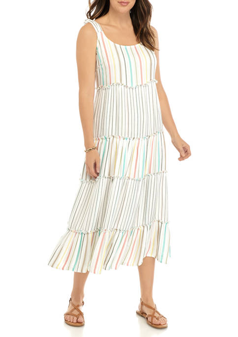 Womens Double Faced Tiered Maxi Dress