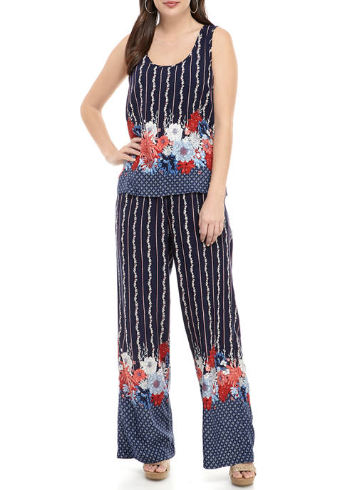 New Directions® Womens 2 Piece Printed Jumpsuit Set