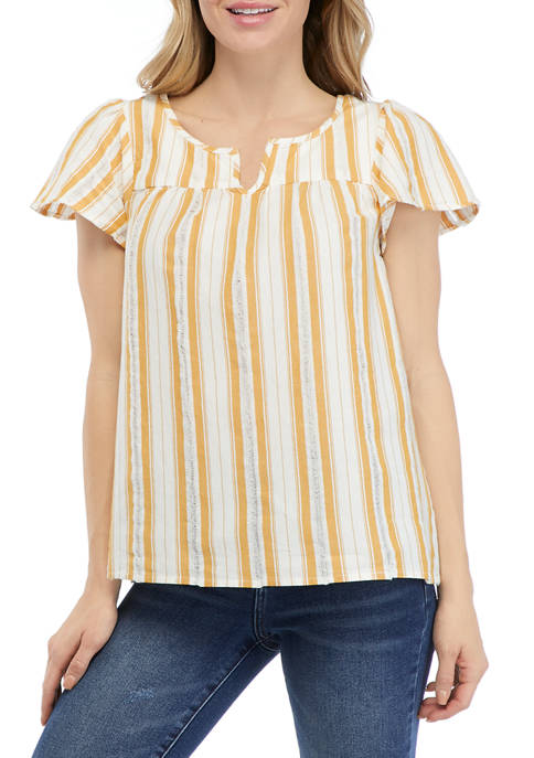 New Directions® Womens Cap Sleeve Split Neck Striped