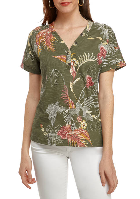 New Directions® Womens Button Front Printed T-Shirt