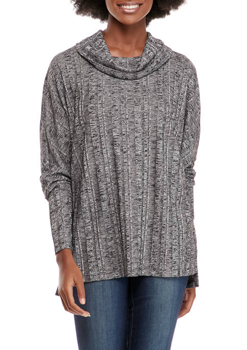New Directions® Womens Rib Knit Cowl Neck Sweater