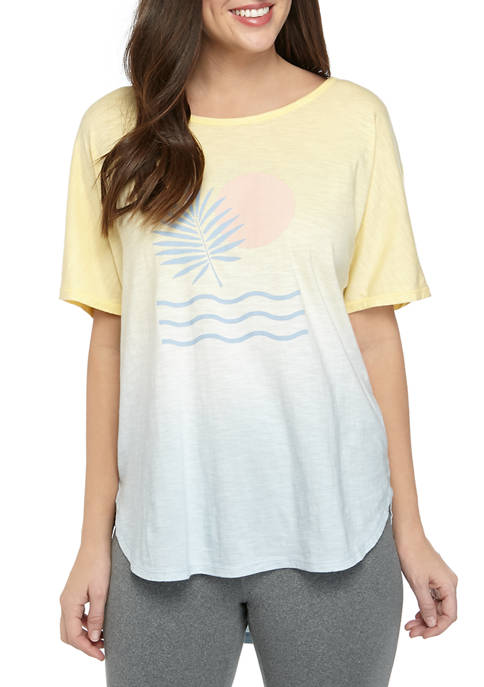 Womens Knit Dip Dye Graphic T-Shirt